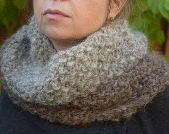 Hand Knit bulky Cowl neckwarmer brown