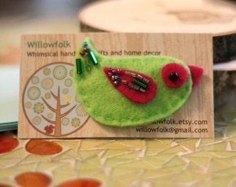 Lime Green Woodland Bird Hair Clip Accessory
