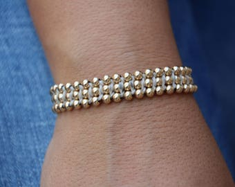 Gold filled bracelet, gold filled bead bracelet, gold filled beaded bracelet