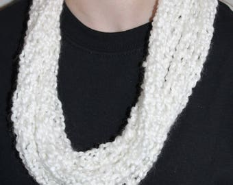 Deco White Finger Knit Infinity Scarf