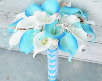 Silk Flower Wedding Bouquet - Aruba Turquoise Calla Lilies Natural Touch with Crystals Seashells and Starfish Silk Bridal Bouquet