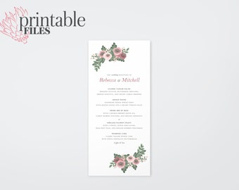 The Zara Watercolour Wildflower Wedding Menu Card (Printable)