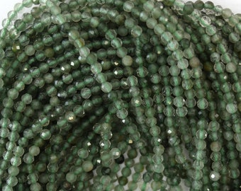 "2mm faceted green rutilated quartz round beads 15.5"" strand 40366"