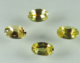 1.25 cts yellow sapphire 5x3 mm faceted oval lot Montana