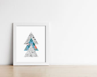 PRINTABLE Terrazzo Floral Triangle Art Print - Geometric Modern Wall Art - Office Decor - Housewarming gift - Gallery Wall - SKU:3825