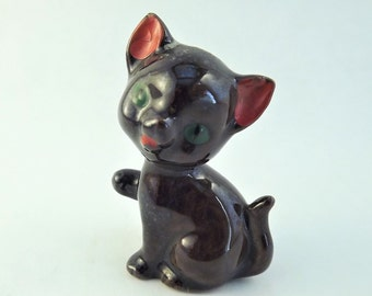 Glass Cat Figurine, Brown Cat, Redware Cat, Porcelain Vintage Cat, Large Miniature Cat, Green eyed cat