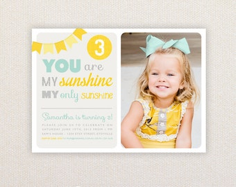 Photo Birthday Invitations. You are my Sunshine Design. I Customize, You Print.