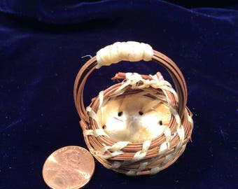 Tiny little gourd and pine needle basket
