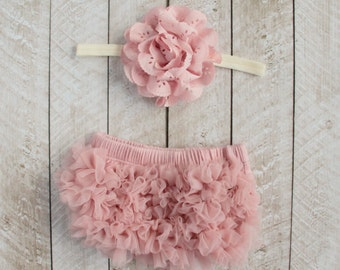 Baby Girl Ruffle Bottom Bloomer & Headband Set in Mauve - Newborn Photo Set - Infant Bloomers - Diaper Cover - Baby Gift - Vintage Pink