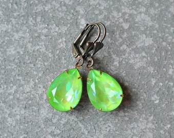 Lime Green Earrings Swarovski Crystal Hot Flourescent Ultra Green Rainbow Pear Drop Earrings Duchess Green Rainbow Earrings Bridesmaids