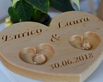 Personalized Wood Ring Box, Wedding Ring Bearer Pillow, Rustic Wedding Ring Holder, Wood Heart Ring Bearer, Rustic Wedding Decor