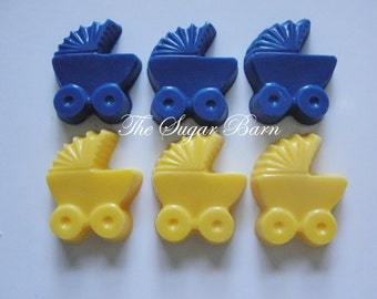 BABY CARRIAGE Mini CHOCOLATE Cupcake Toppers*24 Count*Baby Shower Favor*It's A Boy*It's A Girl*Gender Reveal*Baby Buggy Favors