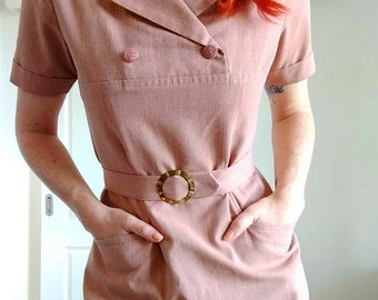 Vintage dusty rose dress with belt | 50s 60s 70s | from the Czech Republic