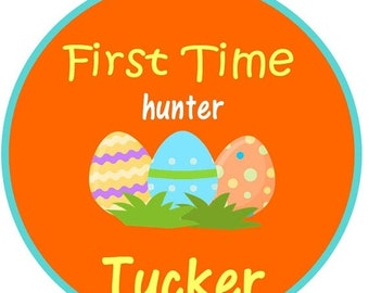 ON SALE My first Easter, first time Hunter, egg, easter egg iron on at giggles to go