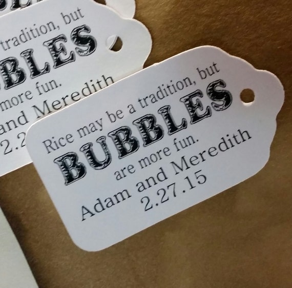 "Bubbles are more fun SMALL 2"" Favor Tag Choose your quantity"