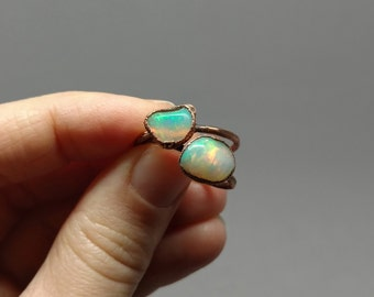 Raw Stone Ring - Mother's Day Gift - Stacking Ring - October Birthstone - Gifts for Her - Raw Opal - Opal Jewelry - Raw Opal Ring