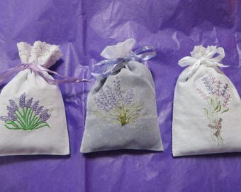 LAVENDER EMBROIDERED SACHETS            Choice of 3 styles