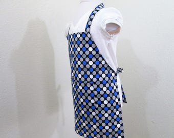 Childrens/Kids Apron - Polka Dots all over in Blue, gray and white, great boys or girls apron, fun for cooking, painting, and creating
