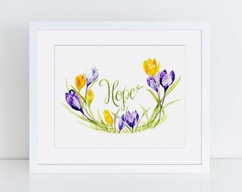 Hope Art, Encouragement, Recovery, Crocuses, Floral Watercolor print