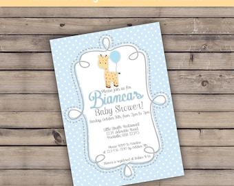 Blue Yellow Giraffe Balloon  Welcome Baby Shower Personalized DIGITAL printable invitation custom 5x7
