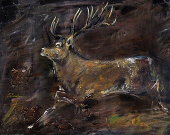 Original acrylic painting on canvas of running stag