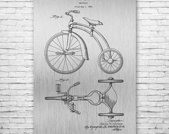 Tricycle Poster Art Print, Tricycle Wall Art, Tricycle Patent, Big Wheel, Cyclist Gift, Boys Room, Patent Art, Patent Print, Patent Poster