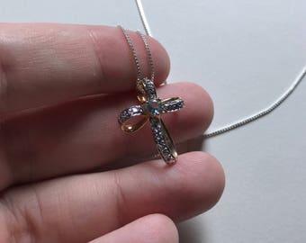 Vintage Petite Cross Sky Blue Topaz 925 Sterling Silver Pendant Necklace