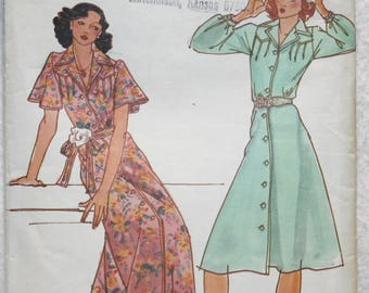 "Sz 10 Bust 32.5""  Vintage Sweet Baby Jane Tise 70's Butterick  Sewing Pattern 4096 Front Button Dress with Pin Tucks"