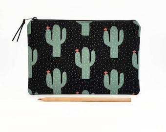 Cactus clutch purse, Large pencil case, Clutch zipper pouch, Cactus, Zipper clutch, Clutch bag, Makeup bag, Pencil case, Zipper travel pouch
