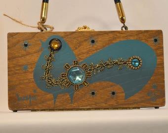 1960s Enid Collins of Texas Hapi Jeweled Blue Bird Wooden Box Purse