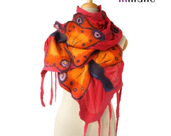 SALE!!!  nuno felted scarf, red with a bit of pink and butterflies silk felt nunofelted designer shawl, felted shawl, felted wool by inmano