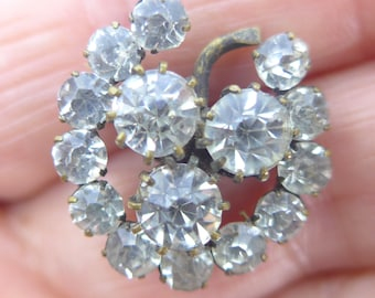 Vintage Paste Rhinestone Metal Flower Button