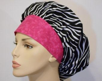 Medical Bouffant Scrub Hat Wild Thing Zebra with a Muted Pink Headband