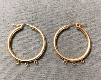 14K Gold Filled 23mm Hoop Earring with 3 Rings, Two pieces