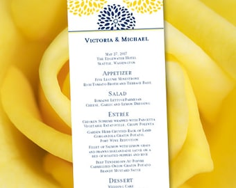 """Printable Wedding Menu Template """"Floral Petals"""" Navy Blue & Yellow 