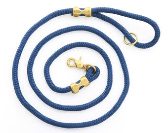 Ocean rope dog leash // Navy blue marine rope lead // Strong dog leash // Unique pet leash with brass hardware // 4' or 6' length
