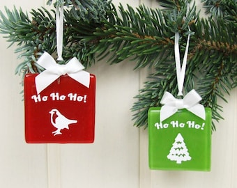 Handmade Ho Ho Ho Fused Glass Paper Cut Christmas Keepsake / Tree Decoration / Gift Tag in Red or Green Robin or Tree by Jessica Irena Smith