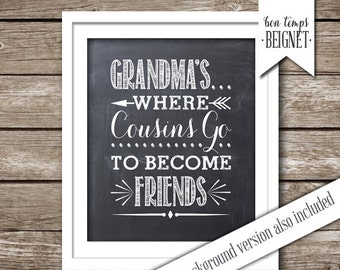 "Grandma's , Where Cousins Go to Become Friends - 8x10"" -  Three  INSTANT DOWNLOADS - Chalkboard AND White Backgrounds - Grandparents"