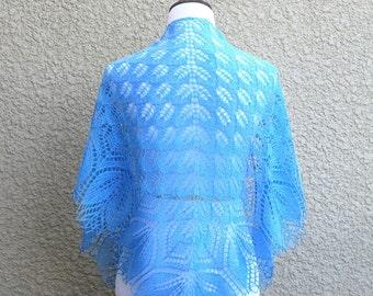 Aquamarine Knit shawl, handknit shawl, wedding shawl, bridesmaids shawl knit wrap in blue ice blue lace scarf knitted wrap, gift for her