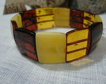 Bracelet multicolor from natural Baltic amber. Made of solid amber plates.