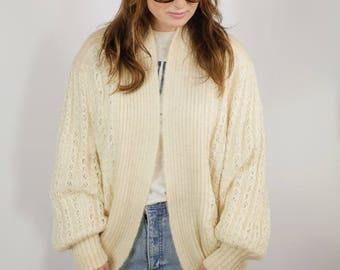 Vintage 80s cream chunky wool cardigan (UK 10 - 14)