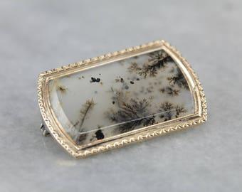 Antique Moss Agate Brooch, Victorian Agate Brooch, Estate Jewelry 7ZHTX4T0-P