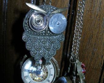 Steam punk watch necklace - mechanical ball watch brass owl  watch parts   FunkyAlternativeJewelry OlympiaEtsy paganteam, trashiontea WWWG