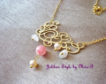 """Elegance"" - gold plated necklace with rhodochrosite and Pearl Necklace"