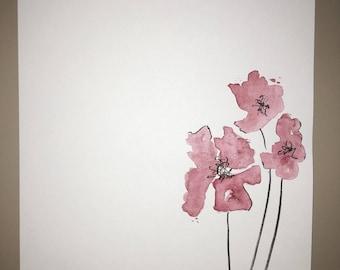 Handmade Watercolor Flower Stationary