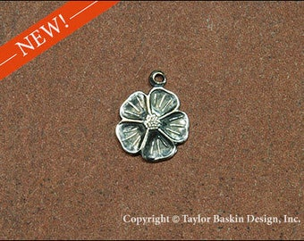 Antiqued Sterling Silver Plated Dogwood Flower (item 1620-small AS with loop) - 6 Pieces