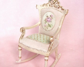 For Roberta - French Fairy Rose - Pink or Green Velveteen Nursery Rocking Chair - Hand-Painted Tapestry - Jill Dianne Dollhouse Miniature