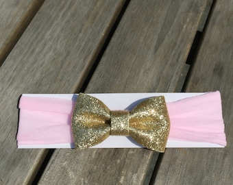 Pink Nylon Headband with a Gold or Silver Glitter Bow for Infants/Toddlers/Birthday Pink and Gold Bow/Pink and Silver Bow/Pink & Gold