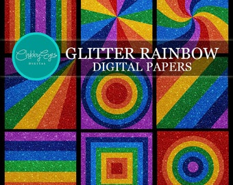 Rainbow Glitter Digital Papers, Scrapbook Papers, Rainbow Sparkles Clipart  Rainbow Background - Instant Download