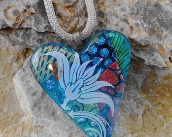 Dichroic Pendant, Blue Glass Heart Pendant, Fused Glass Heart Pendant,  Blue Patchwork Dichroic  Heart Pendant - Flower Garden